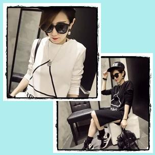 เดรสแฟชั่นเกาหลี สีขาวดำสกรีนลายเท่ห์ๆ สำหรับสาวมั่นและเด็กแนวโดยเฉพาะ