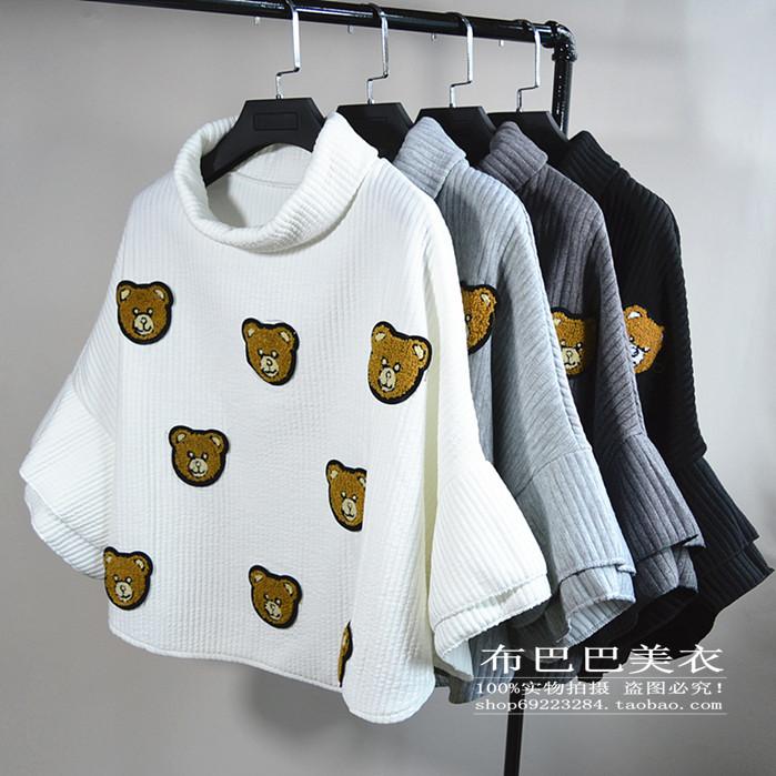 เสื้อกันหนาวแฟชั่น ปักลายตุ๊กตาหมีน่ารักๆ ลงตัวกับทรงคอเต่ามากๆ