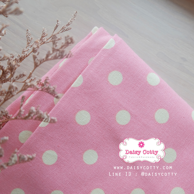 ผ้าคอตตอนลินิน 1/4ม.(50x55ซม.) พื้นสีชมพู ลายจุดใหญ่สีเหลือง พาสเทล