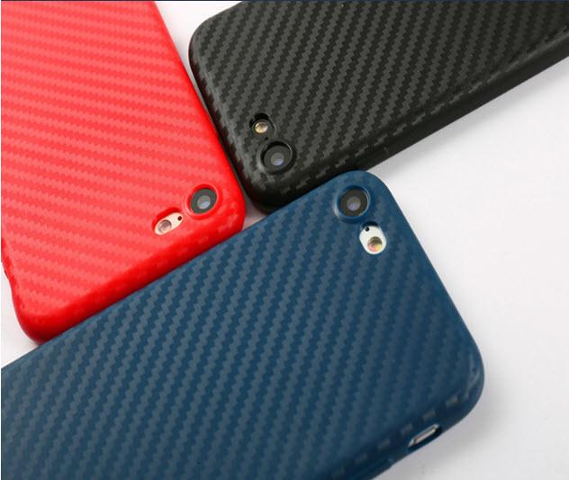 เคสไอโฟน 7 TPU CASE (เคสยางนิ่ม คลุมรอบเครื่อง) ลายเคฟล่า สีแดง