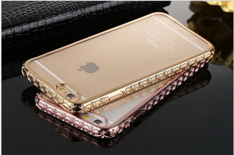 Case iphone 6 Plus / 6s Plus (TPU Case) เคสใสหุ้มหลังเครื่องขอบ Bumper สีทองฝังเพชร