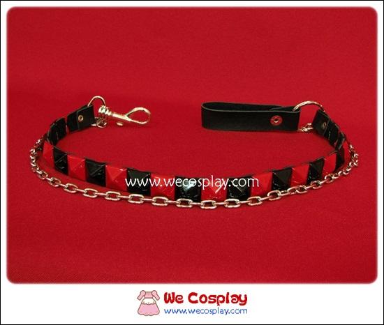 สายโซ่คล้องกระเป๋าสตางค์พังค์ Punk Wallet Chain ตอกหมุด 1 แถว สีดำแดง