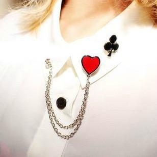 เข็มกลัดโซ่ติดเสื้อ รูปหัวใจ