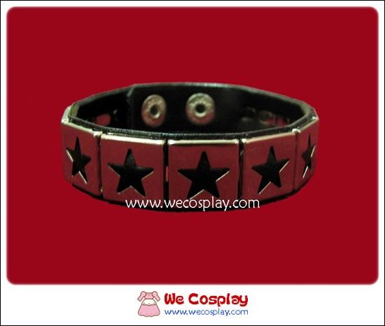 สร้อยข้อมือพังค์ Punk Wristband ตอกหมุด 1 แถว ลายดาว