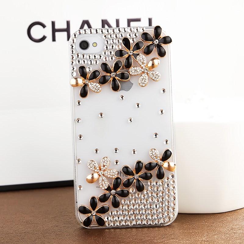 เคสไอโฟน 5/5s/SE (Case Iphone 5/5s/SE) เคสไอโฟนกรอบโปร่งใสประดับเพชรรูปดอกไม้สีดำ