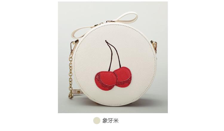 กระเป๋าแฟชั่น ห่วงโซ่ลายเชอร์รี่ ขาวครีมน่ารักๆ