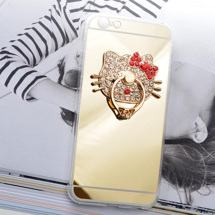 Case iphone 6 Plus / 6s Plus (TPU Case ) สีทองประดับห่วงคิตตี้ฝังเพชร