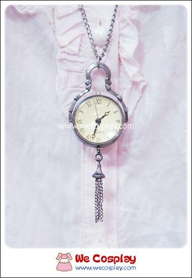 สร้อยคอโกธิคโลลิต้า จี้ล็อกเก็ตนาฬิกาทรงลูกบอลกลมใสขนาดใหญ่