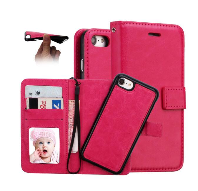 เคส 2IN 1 (เคสไอโฟน+กระเป๋า) ถอดแยกได้ สีชมพู Iphone 7