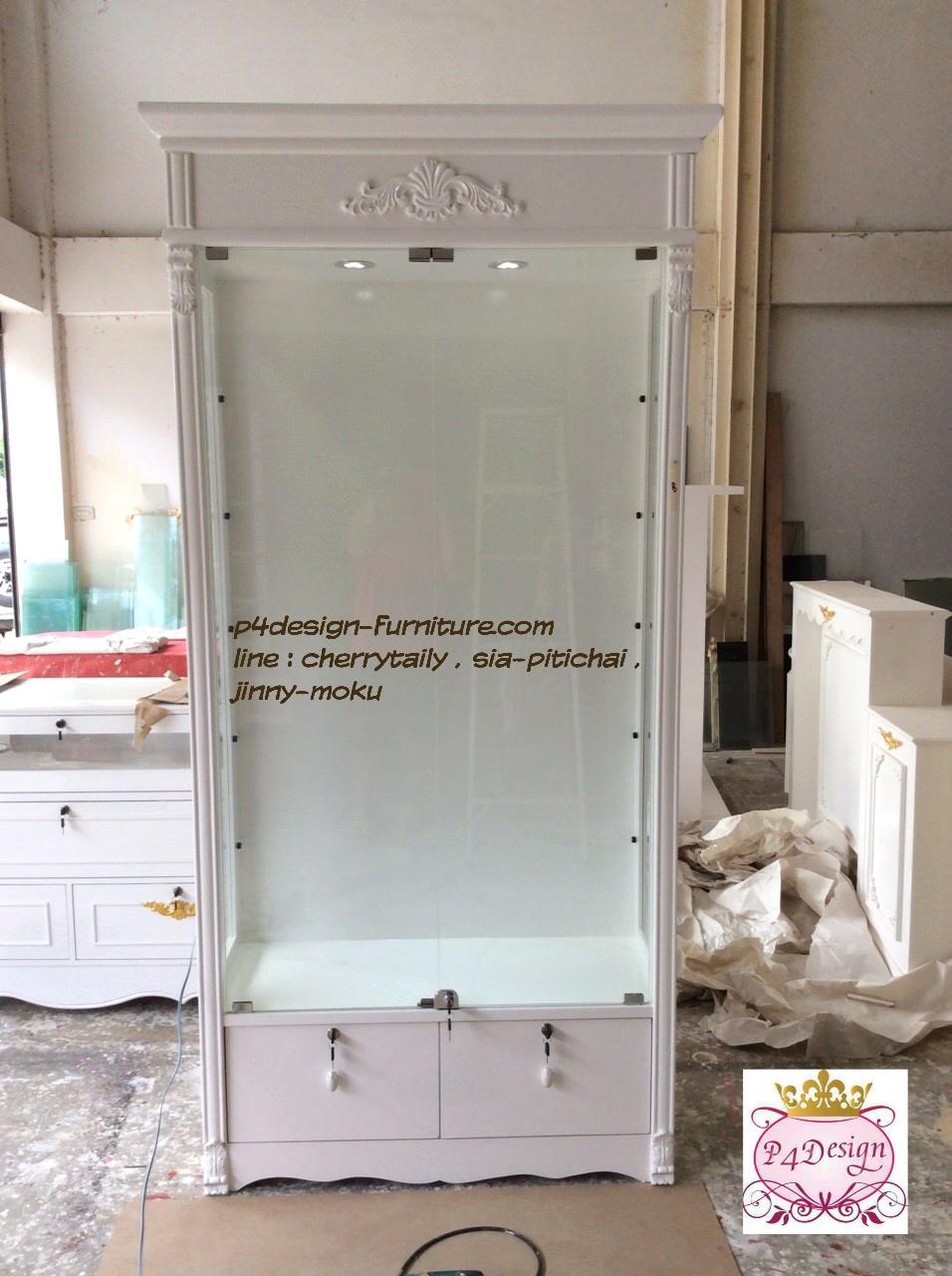 ตู้โชวกระจก วินเทจ สีขาว สำหรับตกแต่งบ้าน ร้านค้า