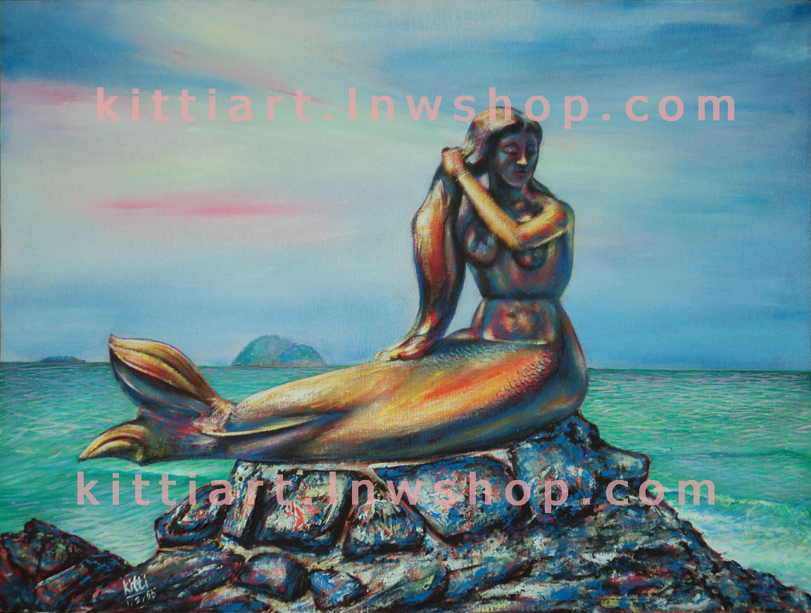 ภาพนางเงือก สีอะคริลิค Mermaid Acrylic color