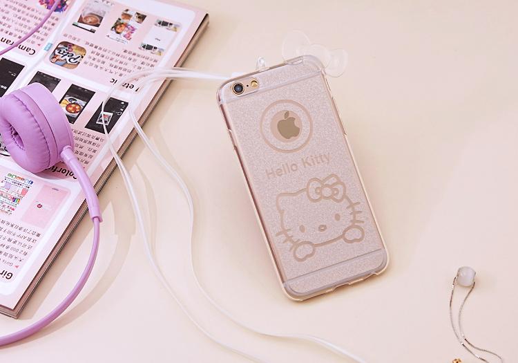 เคสไอโฟน 6Plus/6sPlus (TPU CASE) Hello Kitty พร้อมสายคล้องคอ สีขาวใส