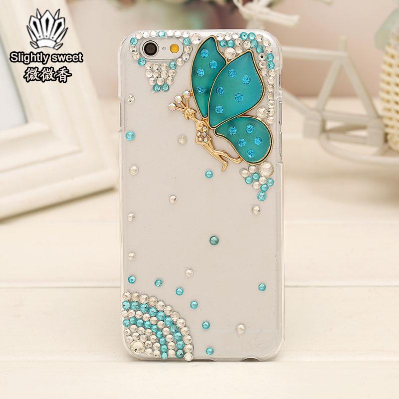เคสไอโฟน 6 Plus / 6s Plus (Hard Case ) กรอบใส ประดับเพชรและผีเสื้อสีฟ้า