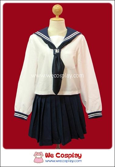 ชุดนักเรียนญี่ปุ่นแขนยาว สีขาว ปกกะลาสี ผ้าพันคอสีกรมท่า