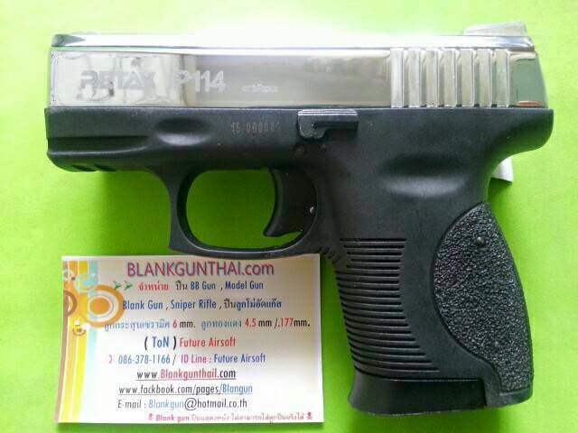 Retay P114 Nickel Front Firing 9mm.PAK. Blank gun