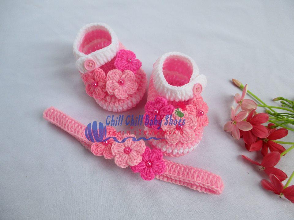 เซ็ทรองเท้า+ผ้าคาดผมติดดอกไม้ 6-8 เดือน *ส่งฟรี EMS