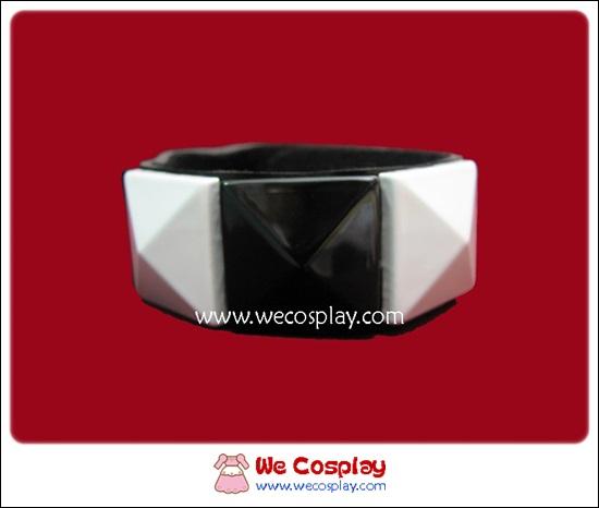สร้อยข้อมือพังค์ Punk Wristband ตอกหมุด 1 แถว สีขาวดำ เส้นใหญ่