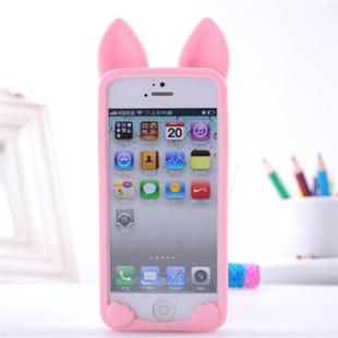 เคสไอโฟน 5 (Case Iphone 5) เคสซิลิโคน แมวเกาหลี สีชมพู