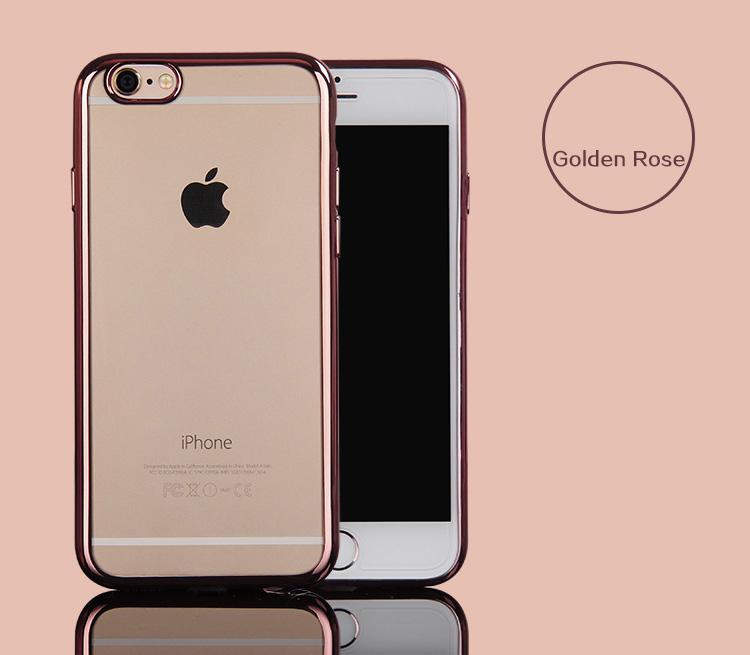 เคสไอโฟน 6Plus/6sPlus (TPU CASE) เคสนิ่มกรอบใสขอบทองชมพู