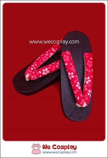 รองเท้าเกตะผู้หญิง สายคาดสีชมพูเข้มลายดอกซากุระ