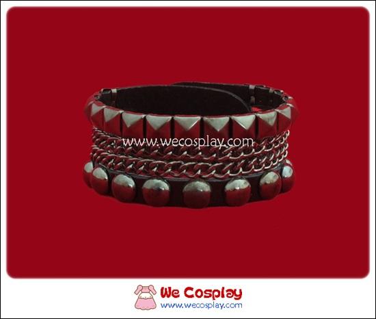 สร้อยข้อมือพังค์ Punk Wristband ตอกหมุดเหลี่ยม หมุดกลม และสายโซ่ สีนิเกิลรมดำ