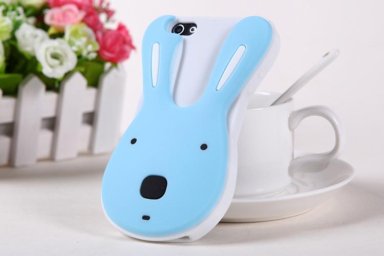 เคสไอโฟน 4/4s เคสซิลิโคน กระต่ายน่ารักสีน้ำเงินพื้นขาว
