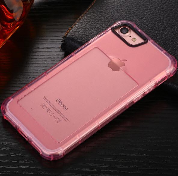 เคสไอโฟน 7Plus (เคสยางนิ่ม + ที่สอดนามบัตร + เรืองแสงได้ +กันกระแทกเครื่อง) แบบชมพูใส