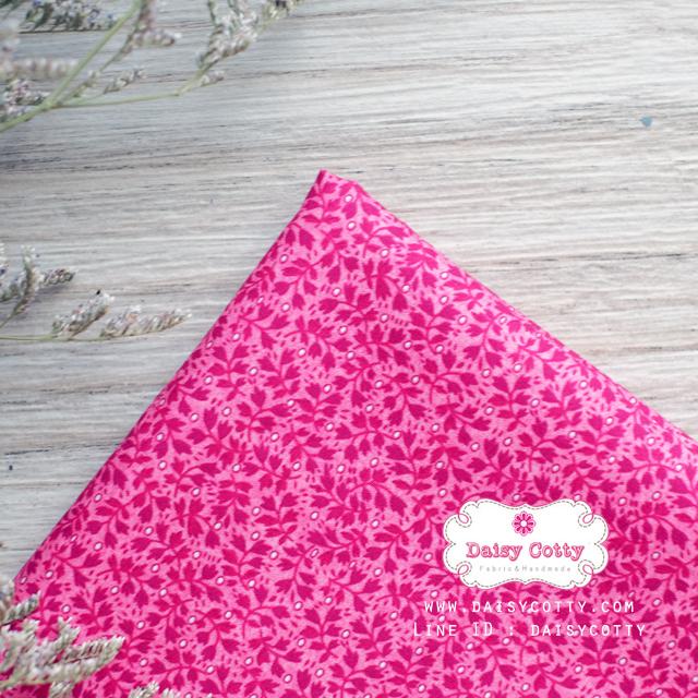 ผ้าคอตตอนไทย 100% 1/4 ม.(50x55ซม.) ลายใบไม้เล็ก โทนสีชมพู