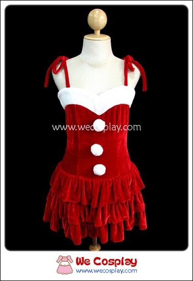 ชุดเลิฟลี่ซานต้าแจนิส สีแดง Red Lovely Santa Janis Christmas Costume