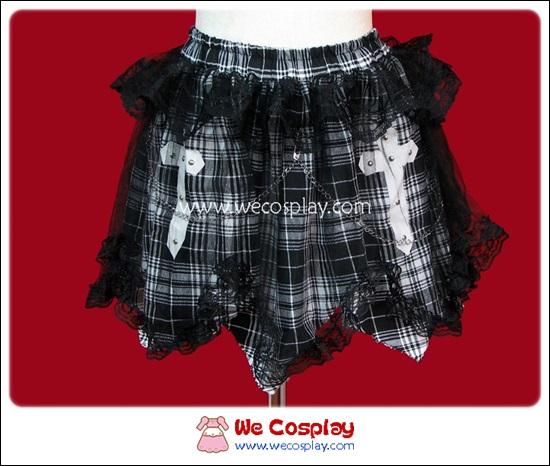 กระโปรงพังค์ ลายสก๊อตสีขาวดำ Black and White Gingham Punk Skirt สกรีนลายกางเขน ตกแต่งด้วยผ้าตาข่ายแมงมุม