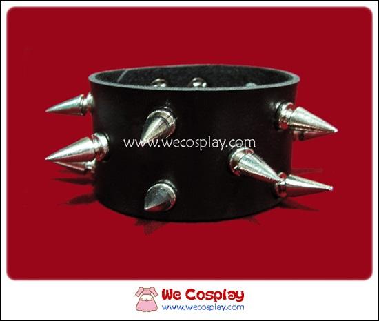 สร้อยข้อมือพังค์ Punk Wristband ตอกหมุดหนามสีเงิน 3 แถว