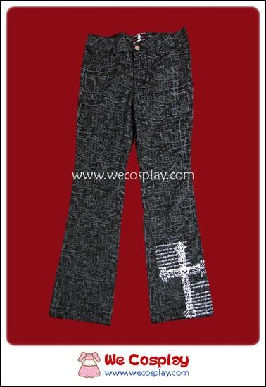 กางเกงพังค์สีดำขากระดิ่ง สกรีนลายไม้กางเขน Punk Pants