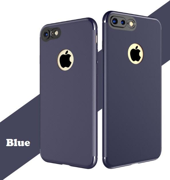 เคสไอโฟน 7 (Silicone Case) สีน้ำเงิน รุ่นป้องกันกล้อง+โชว์โลโก้แอปเปิ้ล