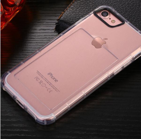 เคสไอโฟน 7 (เคสยางนิ่ม + ที่สอดนามบัตร + เรืองแสงได้ +กันกระแทกเครื่อง) แบบใส