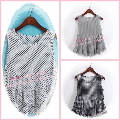 เสื้อแฟชั่นเกาหลีแขนกุด ลายสก็อตเล็กๆ ชายบานๆ สไตล์ตุ๊กตา เบาสบาย ด้วยผ้าชีฟอง SET2
