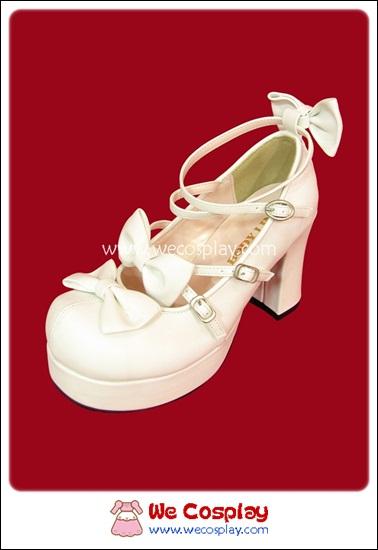 รองเท้าโกธิคโลลิต้าพังค์ คิวท์ปาร์ตี้ริบบ้อนฮีล สีขาวอ๊อฟไวท์ ผิวด้าน