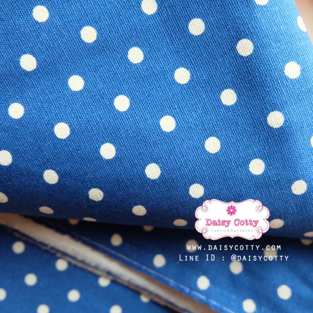 ผ้าคอตตอนลินิน 1/4ม.(50x55ซม.) พื้นสีน้ำเงิน ลายจุดสีขาว
