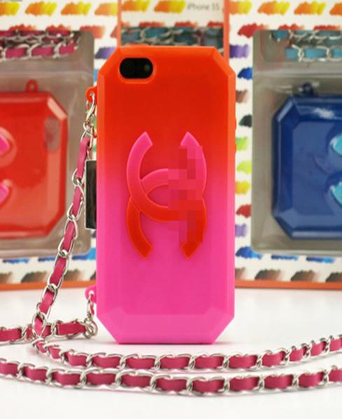 เคสไอโฟน 5/5s/SE TPU Case Chanel สีแดงชมพู พร้อมสายคล้องคอ