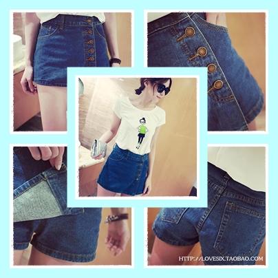 กางเกงแฟชั่นมาใหม่ ออกแบบด้านหน้าเหมือนกระโปรงยีนส์สั้น แต่เป็นกางเกง ง่ายทุกการเคลื่อนไหว หมดห่วงเรื่องนั่งยาก