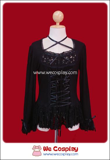เสื้อ Cutsew โกธิคโลลิต้าสีดำ ประดับลูกไม้ (Black Lace Gothic Lolita Cutsew)