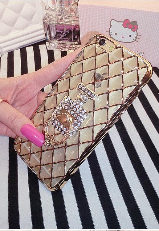 Case iphone 6 Plus / 6s Plus (TPU Case ) Golden Case ประดับห่วงโซ่น้ำหอมฝังเพชร