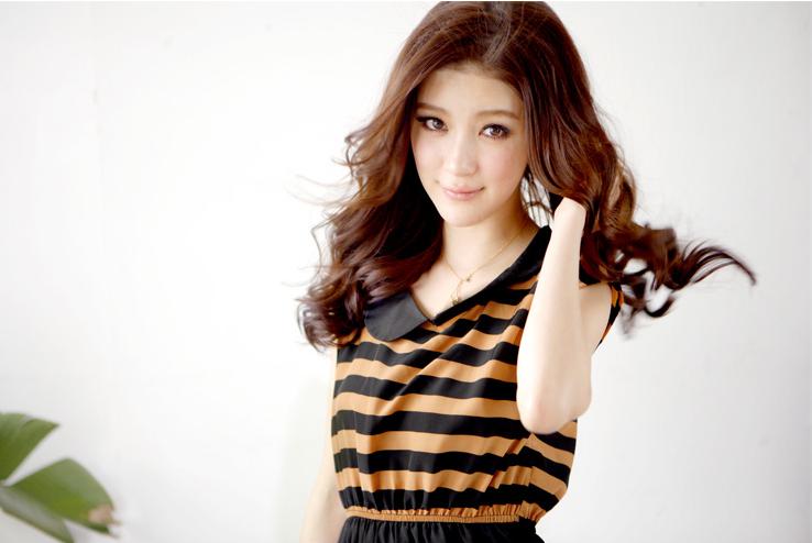 เดรสสั้น Tokyo fashion คอปก ลายขวาง สีส้ม-ดำ
