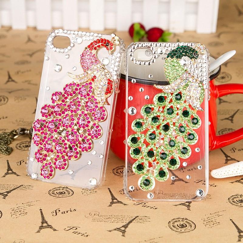 เคสไอโฟน 6 Plus / 6s Plus (Hard Case ) กรอบใส ประดับเพชรและนกยูงสีชมพู