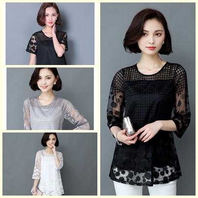เสื้อชีฟองขาวและดำ แต่งด้วยซีทรูบางๆ ลายผ้าสวยๆ ดูมีราคาจริงๆ