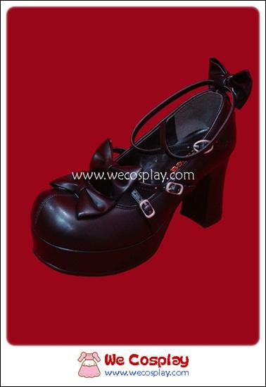 รองเท้าโกธิคโลลิต้าพังค์ คิวท์ปาร์ตี้ริบบ้อนฮีล สีดำ ผิวด้าน