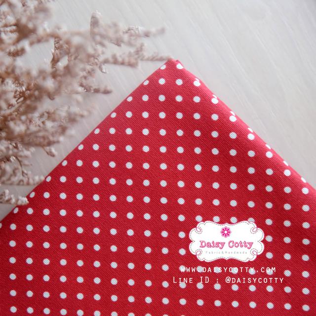 ผ้าคอตตอนลินิน 100% 1/4 เมตร พื้นสีแดง ลายจุดเล็กสีขาว
