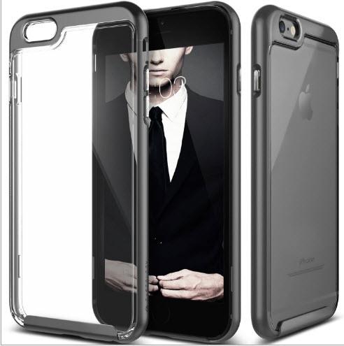 เคสไอโฟน 6Plus/6sPlus (TPU + PC ) ขอบสีเทา หลังใส