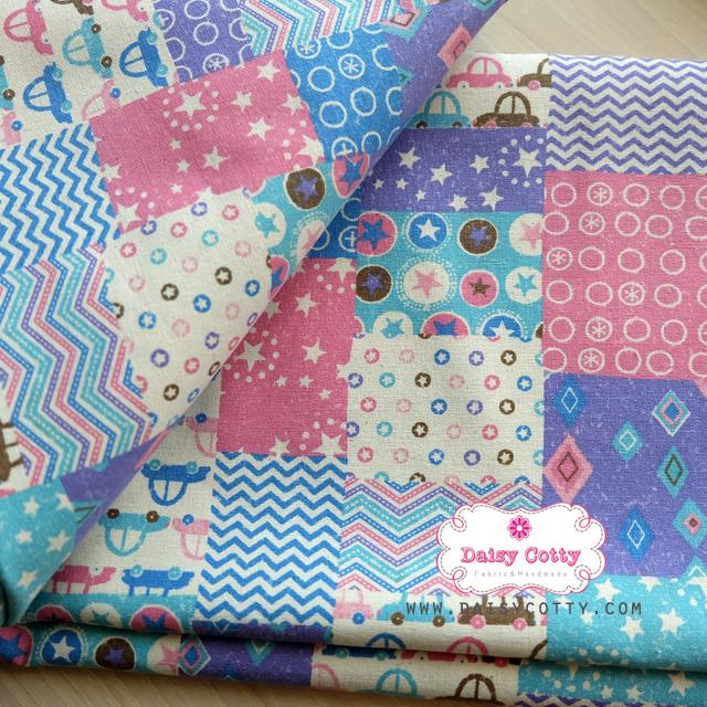 ผ้าคอตตอนเกาหลีแท้ 100% 1/4 เมตร (50x55 cm.) ลายแพทเวิค โทนสีฟ้า