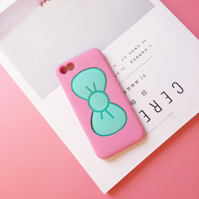 เคสไอโฟน 5/5s/SE (ซิลิโคนนิ่ม) สีชมพูโบว์เขียว เปิดโบว์ตั้งได้