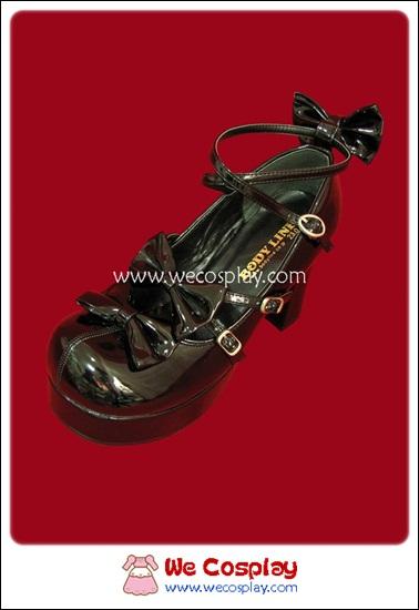 รองเท้าโกธิคโลลิต้าพังค์ คิวท์ปาร์ตี้ริบบ้อนฮีล สีดำ ผิวมัน